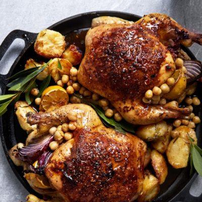 Chorizo-stuffed roast chicken