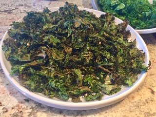 Olive Oil & Garlic Roasted Kale Chips