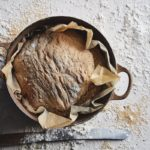 Overnight-bread on floured surface