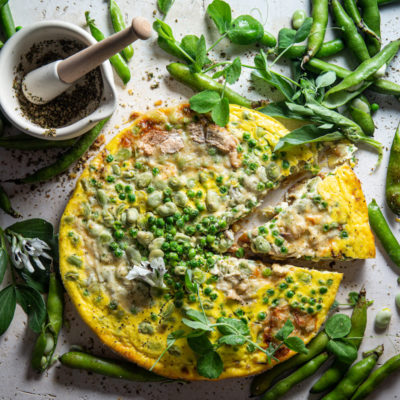 Pea-and-broad bean quiche with sweet potato crust