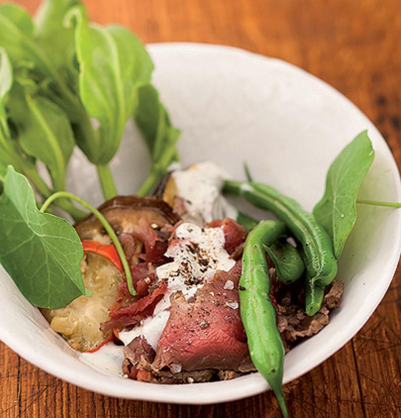 Roast-brinjal-and-kudu-carpaccio-salad