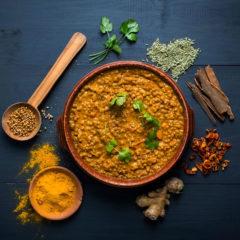 Spicy coconut lentil soup