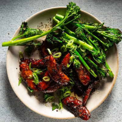 Sticky chicken and broccoli