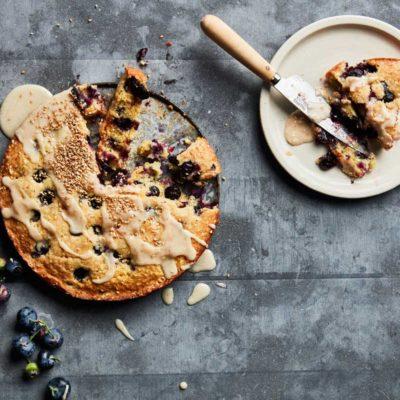 Lemon-and-sesame blueberry cake