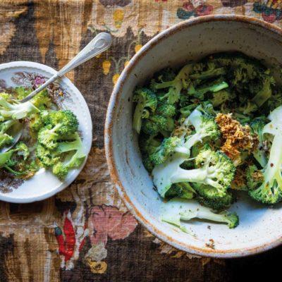 Sesame cured broccoli salad