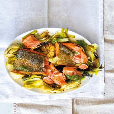 Trout with braised veggies