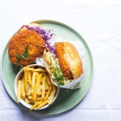 Change up burger night with crumbed pork burger patties