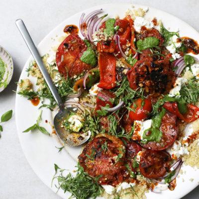 Braaied tomato-and-bulgur wheat salad