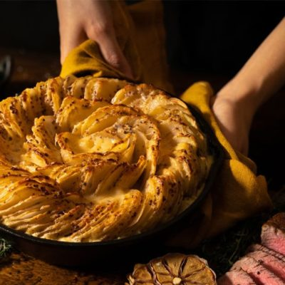 Flavourful steak and potato bake with Maille mustard
