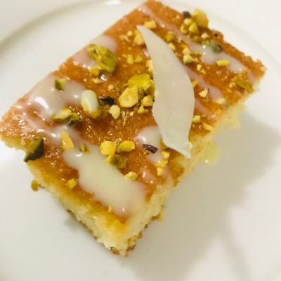 Cotton Coconut Tea Cake with Rose and Pistachio