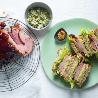 Grape-glazed gammon sandwich