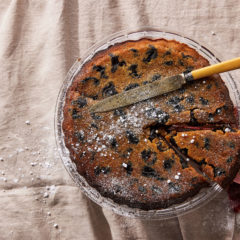 Macadamia prune tart