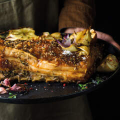 Pork belly with apple and fennel