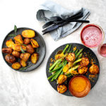 grilled pork with asparagus and roast potatoes