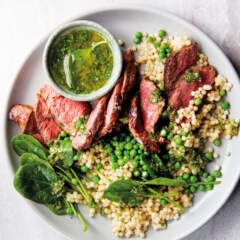 Seared rump with pearl couscous