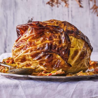 Whole roasted cabbage