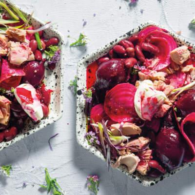 Beetroot, red bean and tuna salad