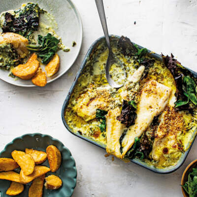 Creamed-spinach baked hake