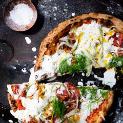 Salami, fennel and stracciatella pizza