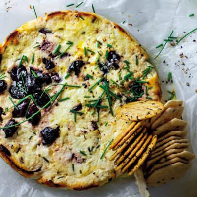 Baked olive-ricotta