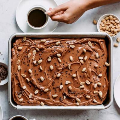 Milk chocolate caramel sheet cake