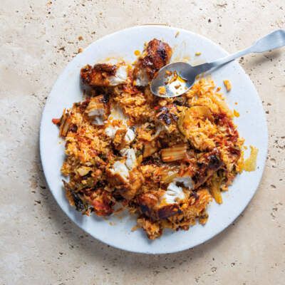 Hoisin hake with egg-fried rice