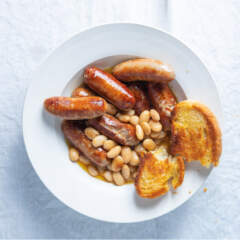 Sausages and soupy beans