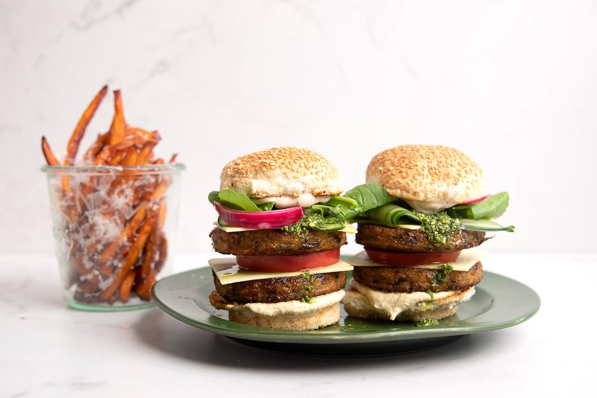 loaded-veggie-burgers-with-sweet-potato-fries