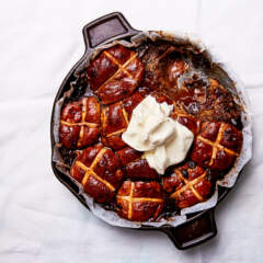 Chocolate hot cross bun bake