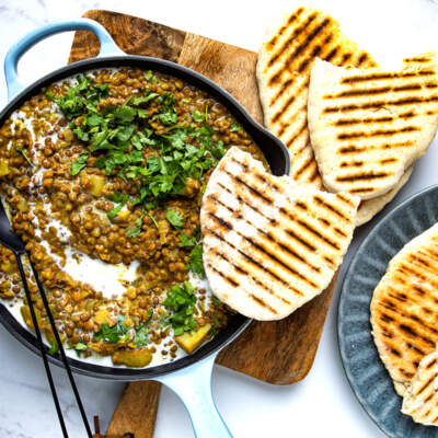 Lentil curry with two-ingredient flatbreads