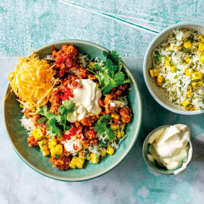 Tex-Mex spiced turkey mince with corn-and-coriander rice