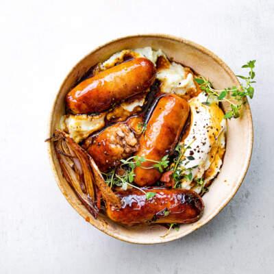 Balsamic pork sausages with cauli-mash
