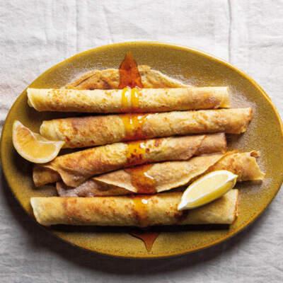 Cinnamon-sugared brandy pancakes