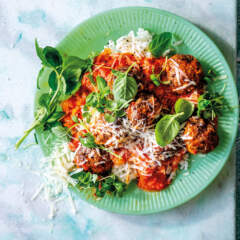 Ostrich-and-ricotta meatballs