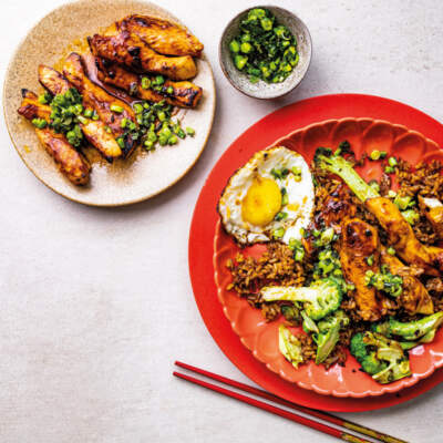 Sticky chicken with brown rice