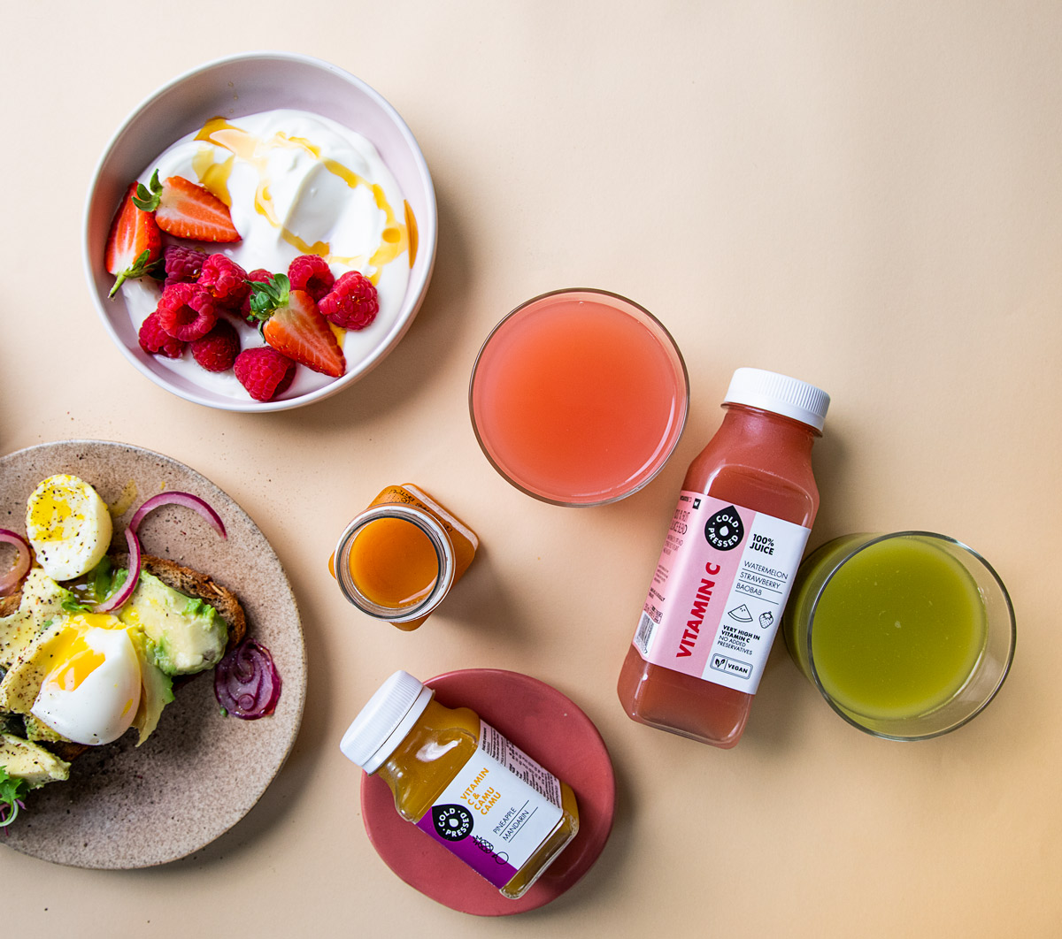 Woolworths cold press juice with breakfast bowls