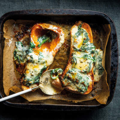Seven colours creamed spinach stuffed butternut