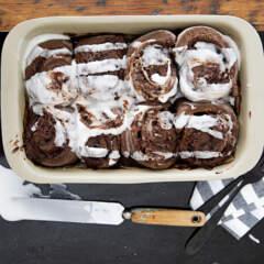 Double-chocolate cinnamon rolls