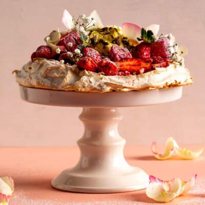 Cardamom pavlova and whipped rose cream