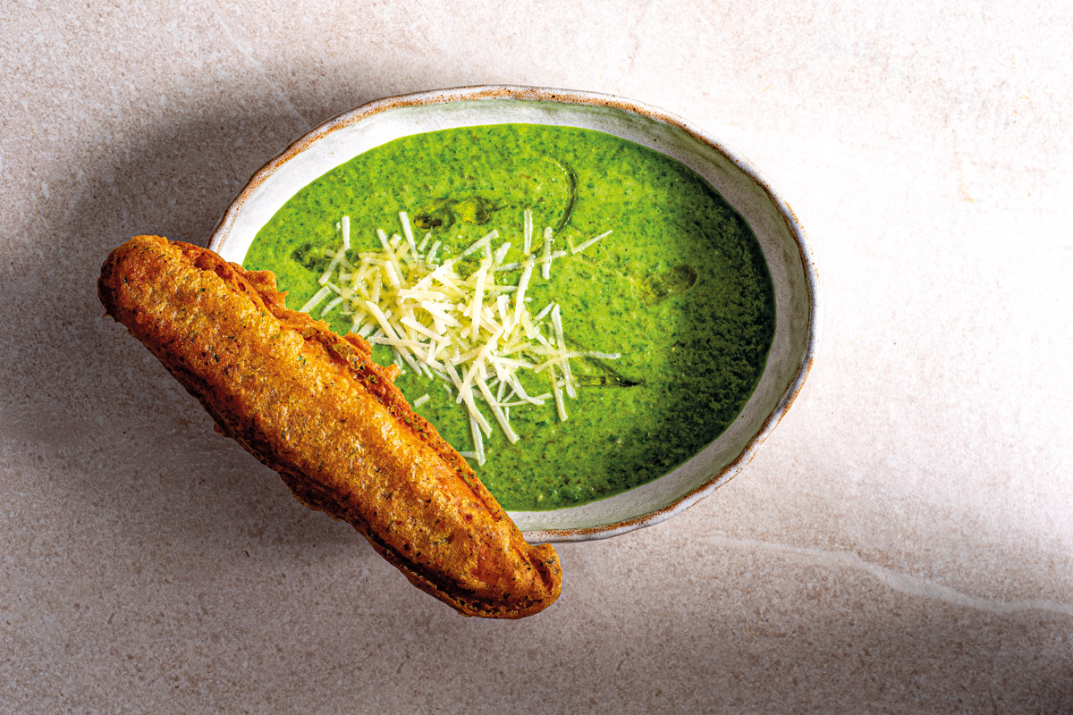 """GREEN SOUP WITH """"FISH BREAD"""""""