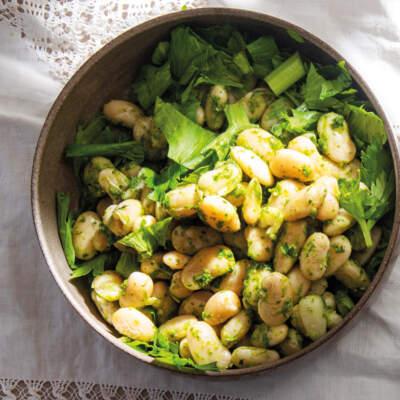 Warm beans with celery pesto