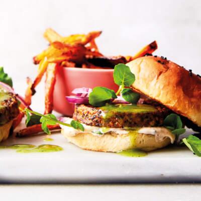 Veggie burgers with coriander tahini