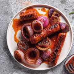 Braaied plant-based sausages