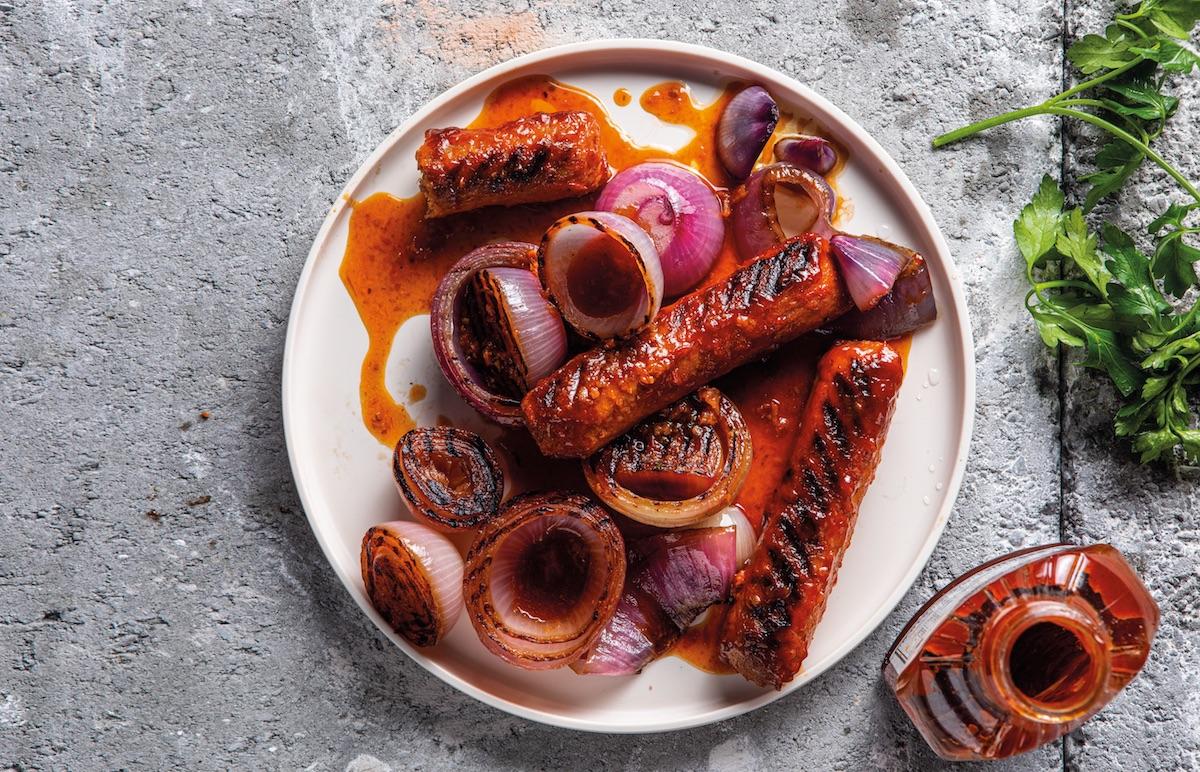 braaied plant based sausages