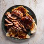 smoky pork ribeye steaks with flatbreads