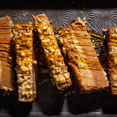 Almond-butter fudge with a shortbread crust