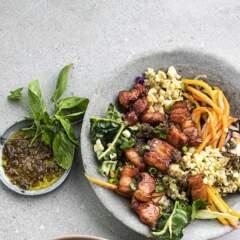 Cauli couscous and crispy pork rashers